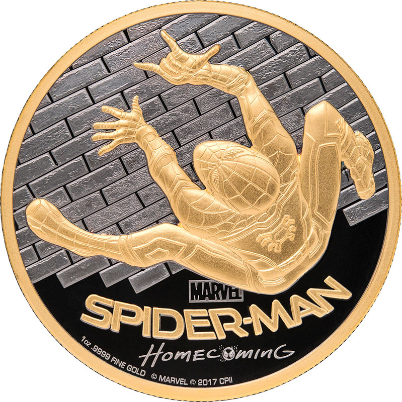 spiderman gold coin homecoming pure gold edition